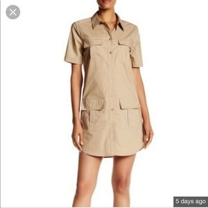 Equipment Tan Sand Remy Utility Shirt Dress S